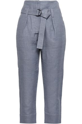 BRUNELLO CUCINELLI Belted herringbone cotton and linen-blend tapered pants