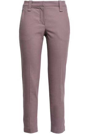 BRUNELLO CUCINELLI Cropped stretch-cotton gabardine slim-leg pants