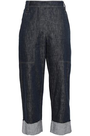 BRUNELLO CUCINELLI Cropped bead-embellished high-rise wid-leg jeans