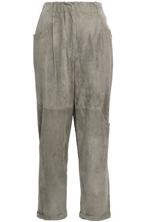 BRUNELLO CUCINELLI Suede straight-leg pants