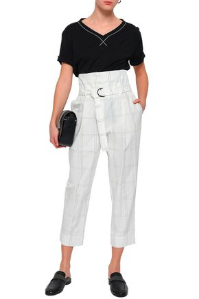 BRUNELLO CUCINELLI Belted checked cotton-blend tapered pants