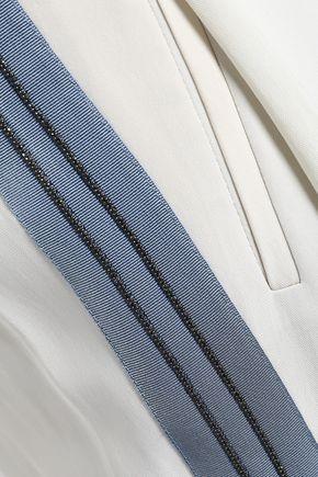 BRUNELLO CUCINELLI Beaded grosgrain-trimmed crepe wide-leg pants