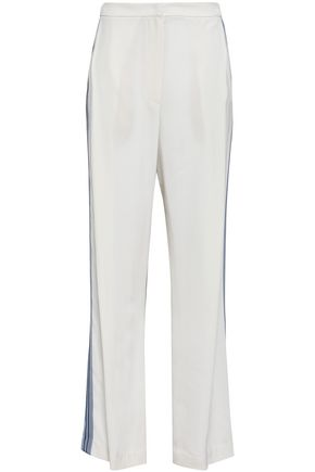 BRUNELLO CUCINELLI Beaded grosgrain-trimmed crepe wide-leg pants