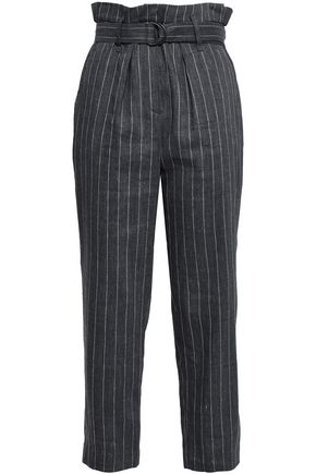 BRUNELLO CUCINELLI Belted pinstriped linen-blend tapered pants