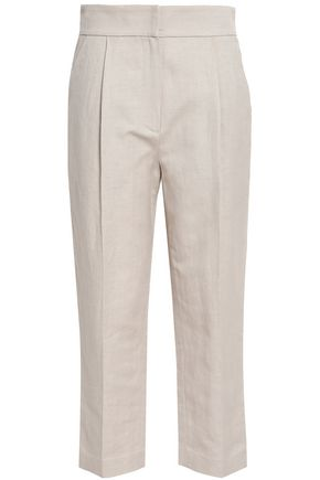 BRUNELLO CUCINELLI Herringbone cotton and linen-blend tapered pants