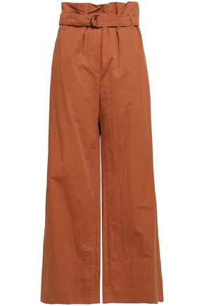 BRUNELLO CUCINELLI Crinkled cotton-blend wide-leg pants