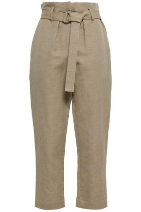 BRUNELLO CUCINELLI Belted herringbone cotton and linen-blend straight-leg pants