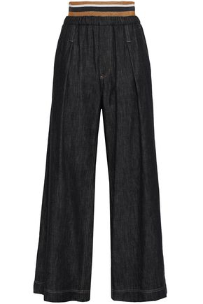 BRUNELLO CUCINELLI Metallic-trimmed linen wide-leg pants