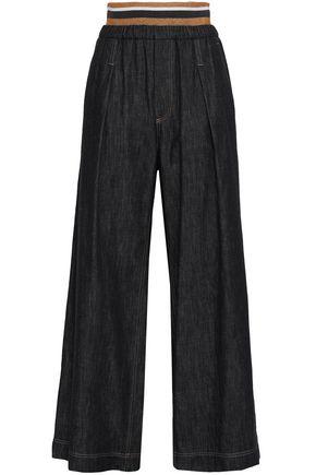 BRUNELLO CUCINELLI Metallic-trimmed linen wide-leg pants