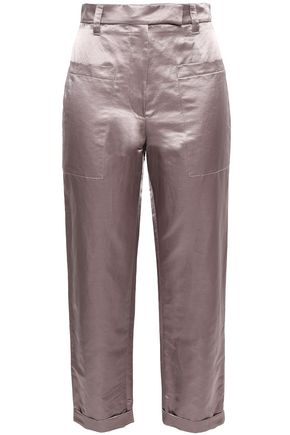 BRUNELLO CUCINELLI Cropped satin-twill tapered pants