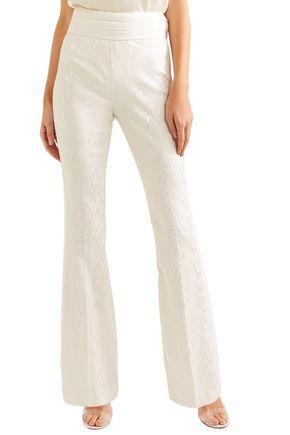 RACHEL ZOE Liv twill-trimmed moire flared pants