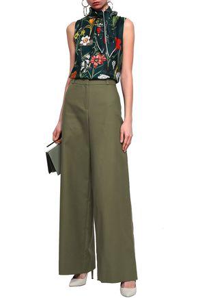 6c7eee15f25b OSCAR DE LA RENTA Cotton-twill wide-leg pants