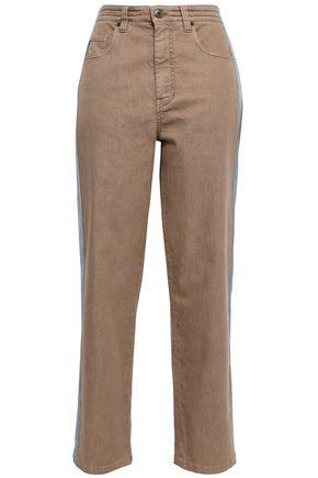 BRUNELLO CUCINELLI   Brunello Cucinelli Woman Grosgrain-trimmed High-cut Straight-leg Jeans Sand   Goxip
