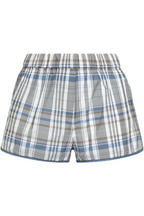 BRUNELLO CUCINELLI Bead-embellished checked cotton-blend shorts