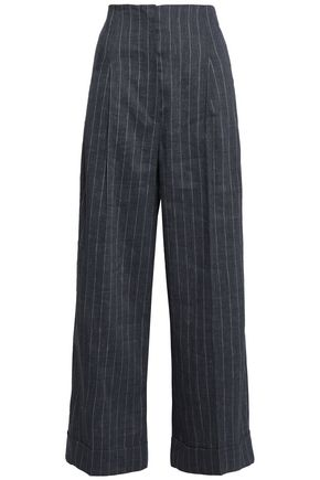 BRUNELLO CUCINELLI Pinstriped linen-blend wide-leg pants