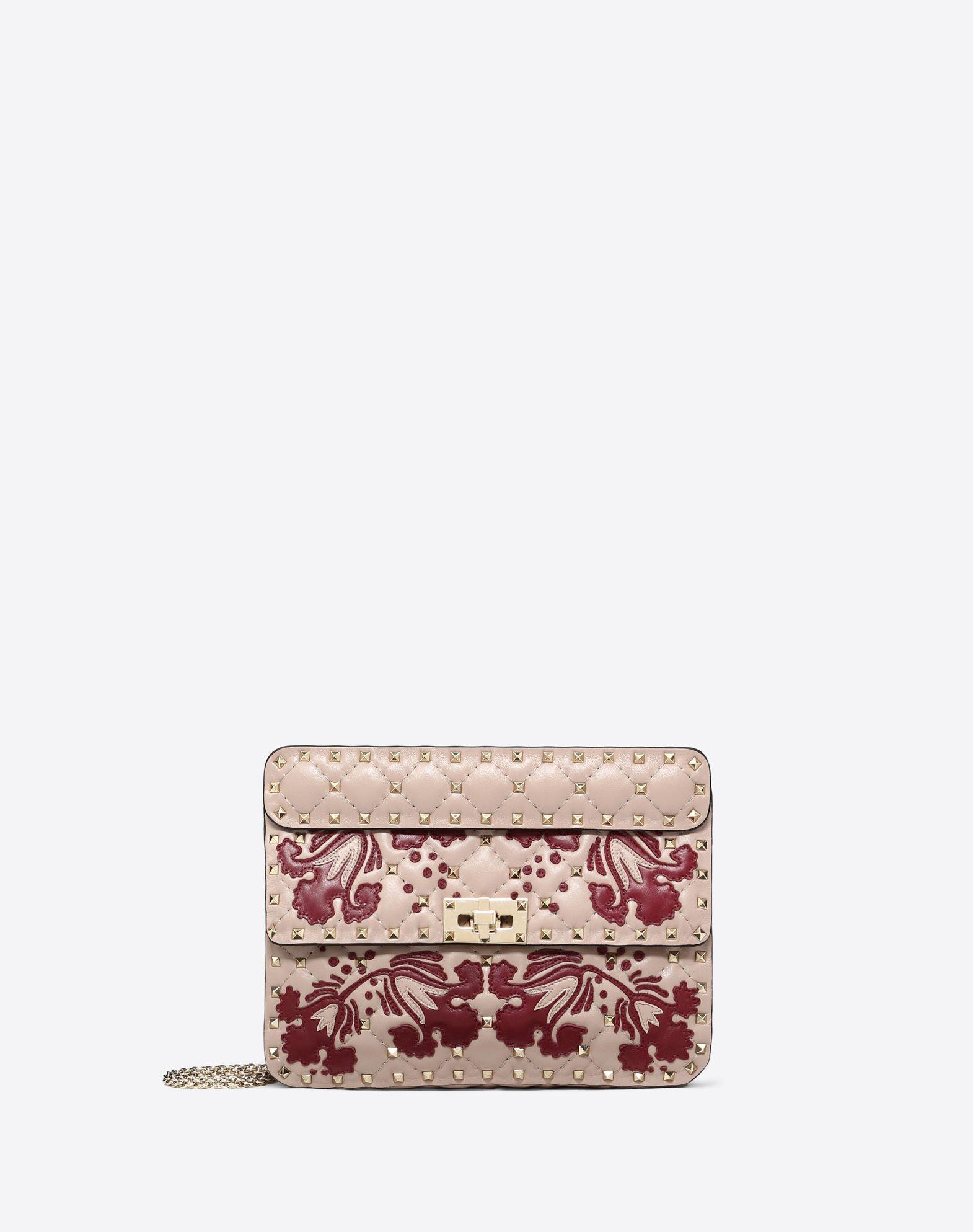 Medium Rockstud Spike.It Bag with Flower Intarsia