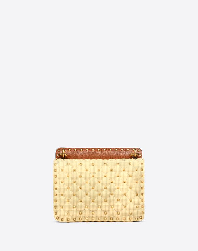 Medium Rockstud Spike Raffia Bag