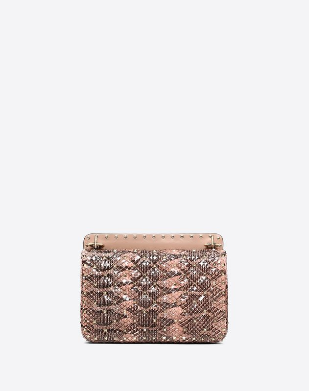 Medium Rockstud Spike Snakeskin Bag