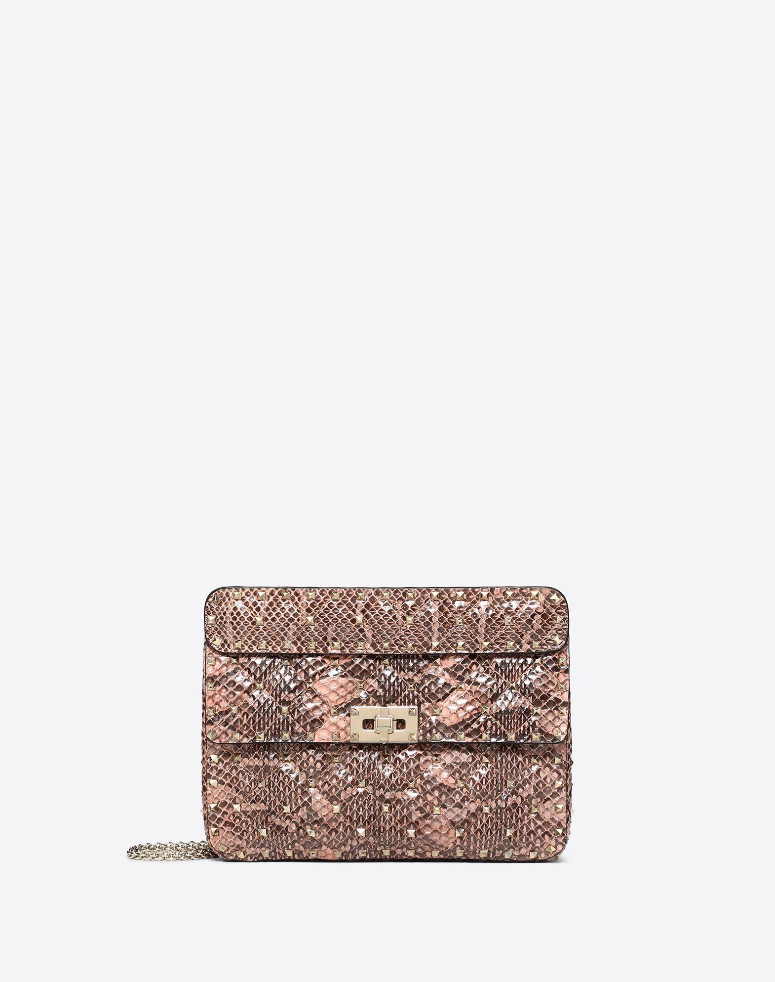 Medium Rockstud Spike Snakeskin Bag