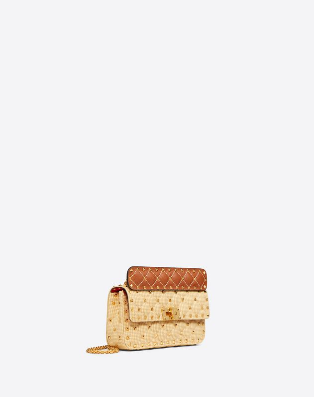 Small Rockstud Spike Raffia Bag