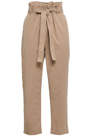 BRUNELLO CUCINELLI Cropped stretch-cotton poplin tapered pants