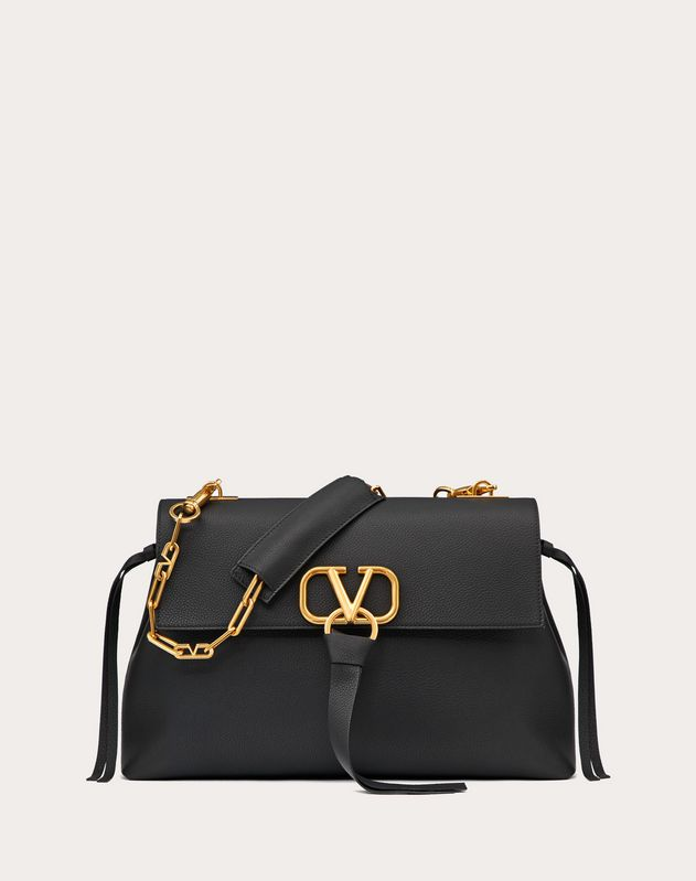 Medium V-Ring Grainy Calfskin Chain Bag