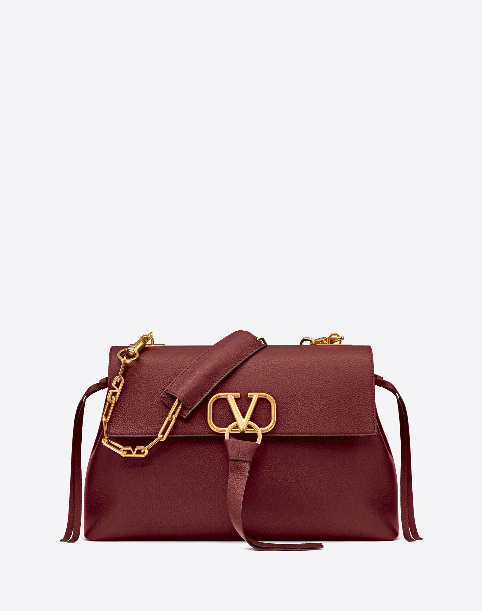 Medium VRing Grainy Calfskin Chain Bag