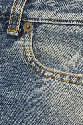 SAINT LAURENT Distressed mid-rise straight-leg jeans