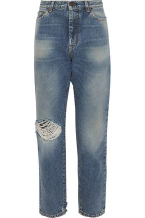 SAINT LAURENT Distressed mid-rise straight-leg jeans