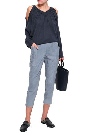 BRUNELLO CUCINELLI Cropped suede track pants