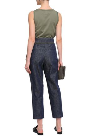 BRUNELLO CUCINELLI Cropped bead-embellished high-rise tapered jeans