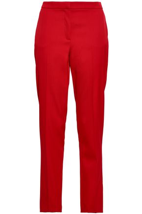 OSCAR DE LA RENTA Wool-blend twill tapered pants