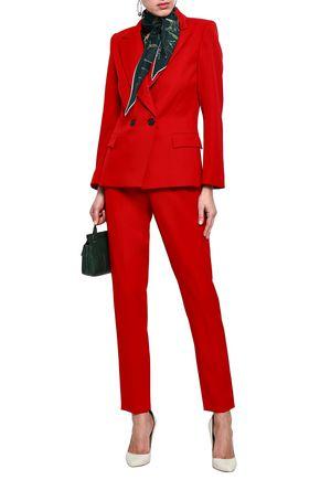 OSCAR DE LA RENTA Wool-blend twill tapered pants