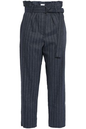 BRUNELLO CUCINELLI Pinstriped linen-blend tapered pants