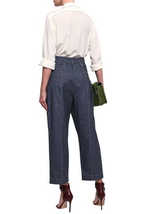 BRUNELLO CUCINELLI Cropped cotton-blend chambray straight-leg pants
