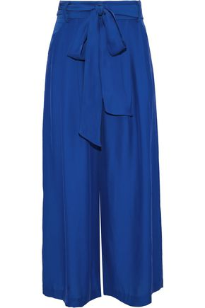 MILLY Natalie tie-front satin culottes