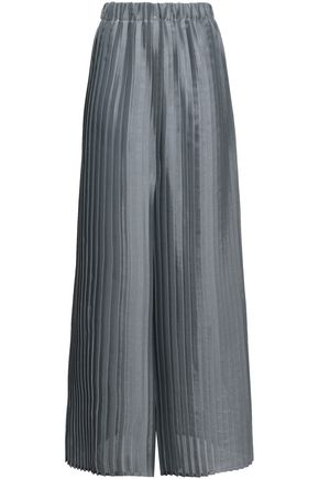 BRUNELLO CUCINELLI Plissé metallic organza wide-leg pants