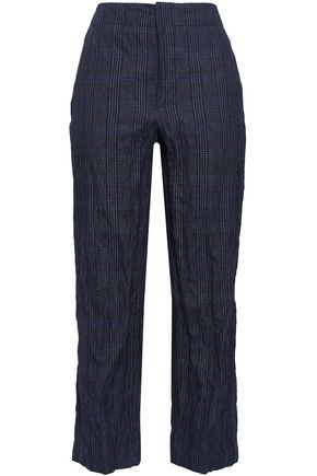 BRUNELLO CUCINELLI Prince of Wales checked cotton-blend straight-leg pants