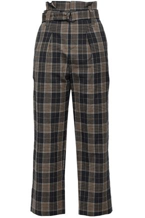 BRUNELLO CUCINELLI Belted checked wool and linen-blend straight-leg pants