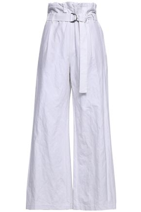 BRUNELLO CUCINELLI Belted cotton-blend wide-leg pants