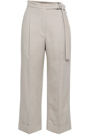 BRUNELLO CUCINELLI Herringbone cotton and linen-blend wide-leg pants
