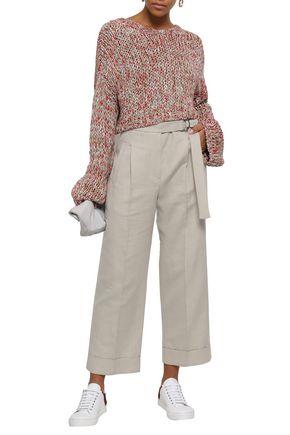 BRUNELLO CUCINELLI Herringbone cotton and linen-blend wide-leg pants