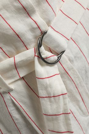 BRUNELLO CUCINELLI Belted pinstriped linen tapered pants
