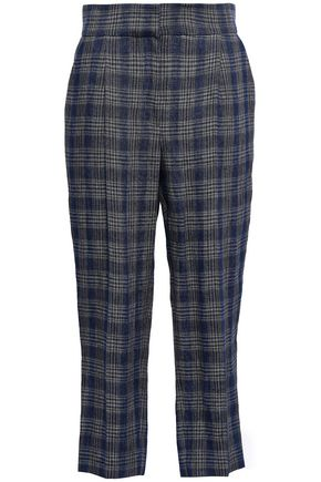 BRUNELLO CUCINELLI Cropped checked linen tapered pants