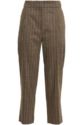 BRUNELLO CUCINELLI Cropped pinstriped linen-blend straight-leg pants