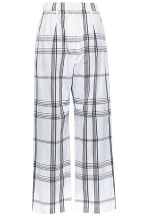 BRUNELLO CUCINELLI Pleated checked stretch-cotton wide-leg pants