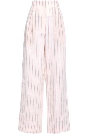 BRUNELLO CUCINELLI Pinstriped linen wide-leg pants