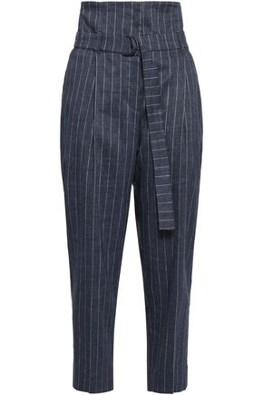 BRUNELLO CUCINELLI Belted striped linen-blend tapered pants