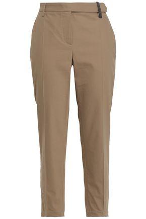 BRUNELLO CUCINELLI Bead-embellished stretch-cotton gabardine tapered pants