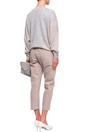 BRUNELLO CUCINELLI Pleated cotton-blend tapered pants